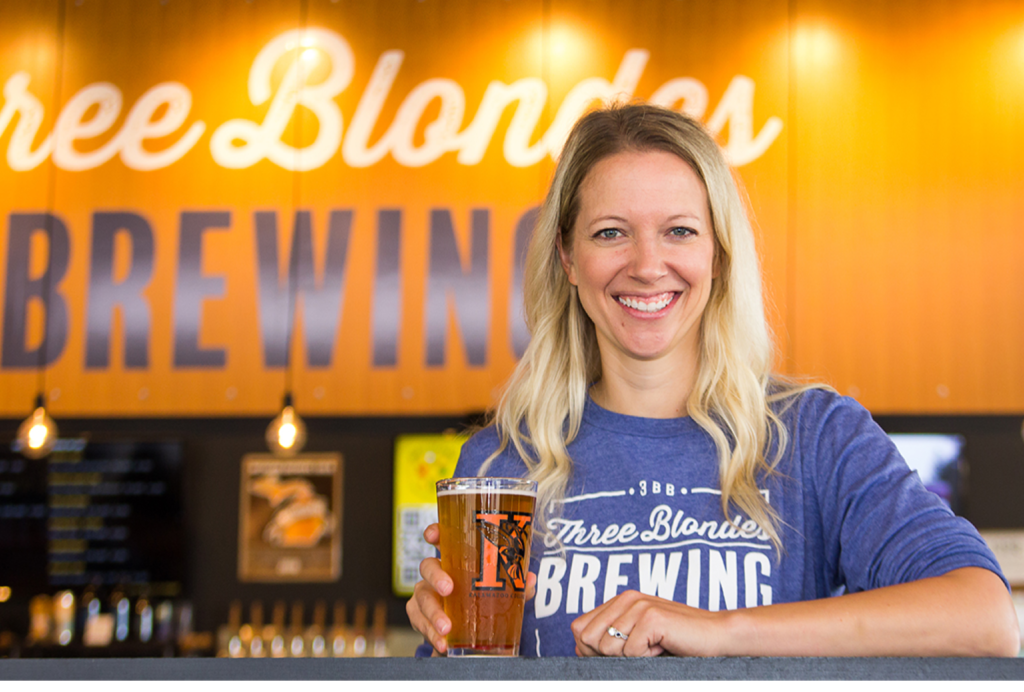 Carrie VanDerZee  05 co-owns Three Blondes Brewing with her sisters