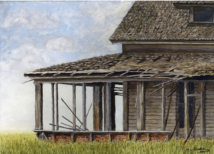 Watercolor painting of abandoned home