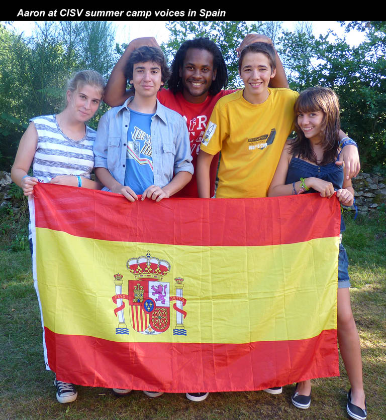 Aaron at CISV summer camp voices in Spain