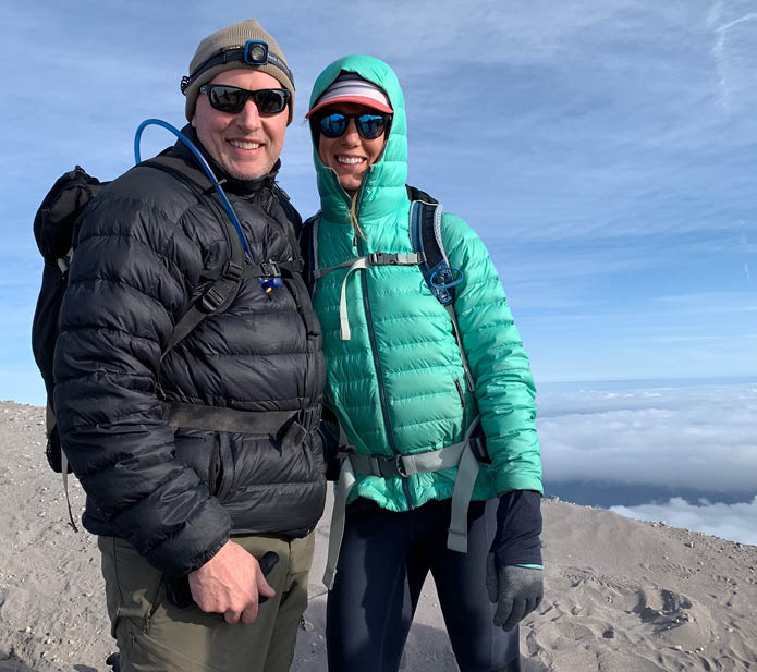 Hotchkiss with his wife, Shannon, atop Mount St  Helens in August 2019