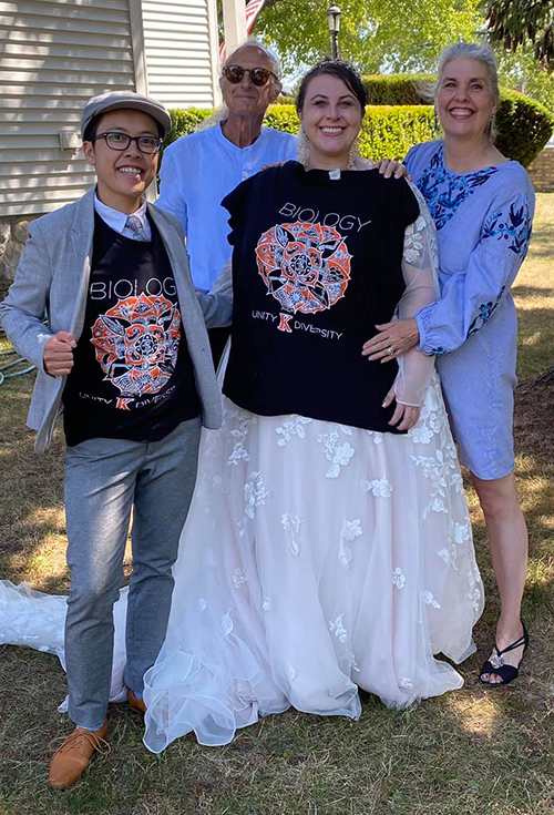 Lenya Friesner and Chau Pham with wedding dress