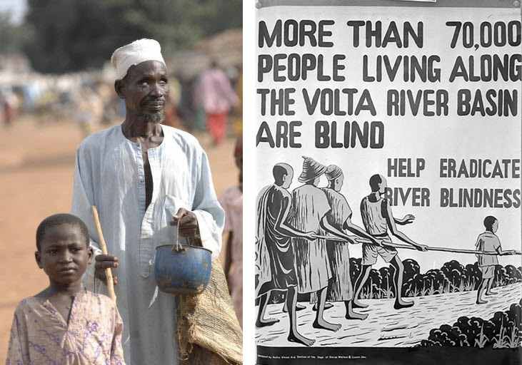 Oncho Blind Man Led by Boy Nigeria and WHO poster